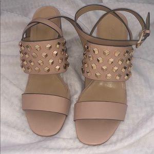 MK block studded heels
